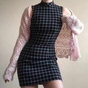 H&M grid print sheath dress